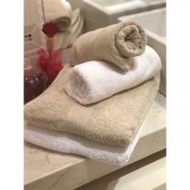 520058218e Jogo 4 peças toalhas banho e rosto fj2246 branco e bege - Döhler