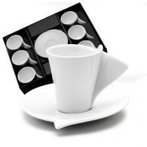Jogo 6 Xícaras 55ml Para Café De Porcelana Com Pires Lyon Wolff - R1159 -