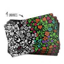 Jogo Americano Flores Para Colorir - 4 peças - Gorila Clube