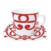 Jogo com 12 peças de porcelana para chá terre red - lhermitage -