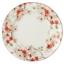 Jogo com 6 pratos de sobremesa de porcelana 22,5 cm cherry blossom - lhermitage -