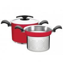 Jogo cozi-pasta aço inox 24 cm 2 peças -DUO COLOR - Tramontina -