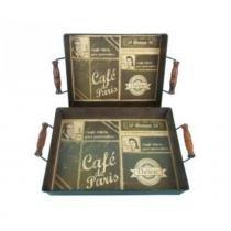 Jogo de 2 bandejas em metal café paris d169005 - Inova