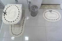 Jogo de Banheiro 03 Peças Crochê Fitado - Preto - Valle Enxovais