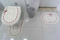 Jogo de Banheiro 03 Peças Crochê Fitado - Vermelho - Valle Enxovais