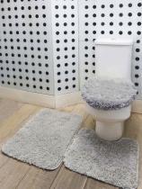 Jogo de Banheiro 03 Peças Prime Antiderrapante - Prata - Valle enxovais
