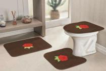 Jogo de Banheiro Bordado Rosas 03 Peças - Café - Guga Tapetes