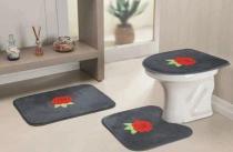 Jogo de Banheiro Bordado Rosas 03 Peças - Cinza - Guga Tapetes