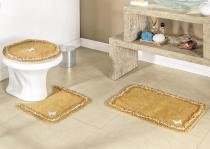 Jogo de Banheiro Canelli  Mostarda com 3 peças em Algodão - Sina