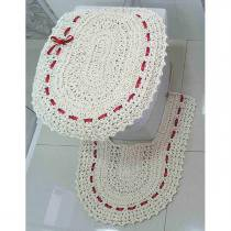 Jogo de Banheiro  Crochê Fitado Vermelho com 3 peças - Casa Sua Beleza