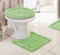 Jogo de Banheiro  Delicato Verde com 3 peças - Casa Sua Beleza