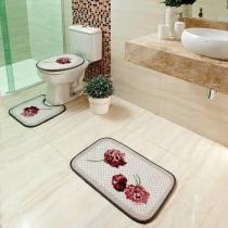 Jogo de Banheiro Dorita 3 peças Loop - 100 Poliéster - Antiderrapente - Corttex -