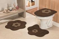 Jogo de Banheiro Formato Margarida 03 Peças - Café - Guga Tapetes