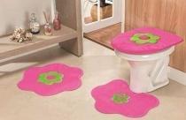 Jogo de Banheiro Formato Margarida 03 Peças - Pink - Guga Tapetes