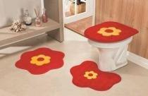 Jogo de Banheiro Formato Margarida 03 Peças - Vermelho - Guga Tapetes