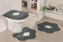 Jogo de Banheiro Formato Margarida Folha 03 Peças - Cinza - Guga Tapetes