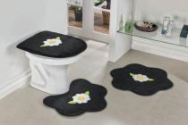Jogo de Banheiro Formato Margarida Folha 03 Peças Preto - Guga tapetes