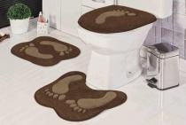 Jogo de Banheiro Formato Pegada 03 Peças - Café - Guga Tapetes