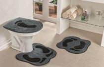 Jogo de Banheiro Formato Pegada 03 Peças - Cinza - Guga Tapetes