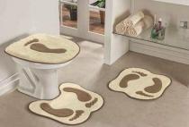 Jogo de Banheiro Formato Pegada 03 Peças - Palha - Guga Tapetes