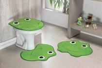 Jogo de Banheiro Formato Sapo 03 Peças Verde Pistache - Guga tapetes