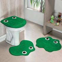 Jogo de Banheiro Formato Sapo Verde Bandeira - Colorido - Guga Tapetes
