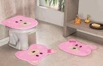 Jogo de Banheiro Formato Ursa 03 Peças - Rosa - Guga Tapetes