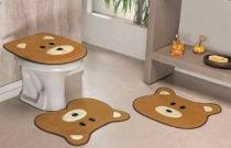 Jogo de Banheiro Formato Urso 03 Peças - Caramelo - Guga Tapetes