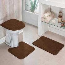 Jogo de Banheiro Liso 3 Peças Café - Colorido - Guga Tapetes