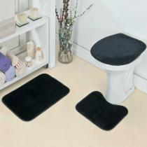 Jogo de Banheiro Liso 3 Peças Preto - Rosa - Guga Tapetes