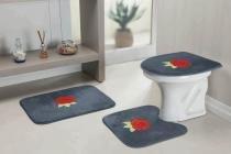 Jogo De Banheiro Rosas 3 Pçs Cinza - Guga tapetes