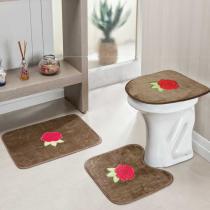 Jogo de Banheiro Rosas 3 Peças Castor - Rosa - Guga Tapetes