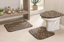 Jogo de Banheiro Safari 03 Peças - Leopardo - Guga Tapetes