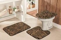 Jogo de Banheiro Safari Standard 03 Peças - Tigre - Guga Tapetes