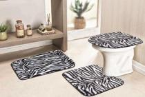 Jogo de Banheiro Safari Standard 03 Peças - Zebra - Guga Tapetes