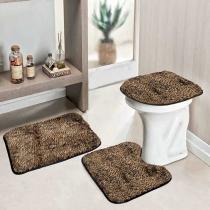 Jogo de Banheiro Safari Standard 3 Peças Onça Pintada - Colorido - Guga Tapetes