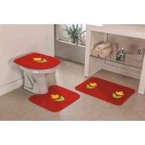 Jogo de Banheiro Tulipa 3 Peças Vermelho - Guga tapetes