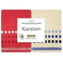 Jogo de Banho 4 Peças Natural/Vermelho Calera - Karsten -