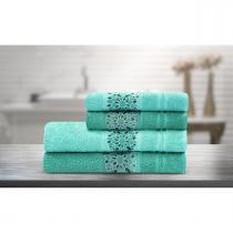 Jogo de banho dalia4 peças verde claro/verde/escuro - camesa -