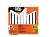Jogo de Brocas para Concreto Madeira Metal - BlackDecker 9 Peças de 4,5 à 8MM BD0110CS