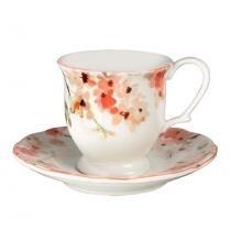 Jogo de café com 12 peças de porcelana cherry blossom - lhermitage - Unica - Lhermitage