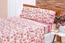 Jogo De Cama Casal Requinte 03 Peças - Pink E Vermelho - Bia Enxovais