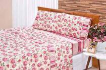 Jogo De Cama King Requinte 03 Peças - Pink E Vermelho - Bia Enxovais