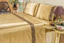 Jogo De Cama Lençol Cetim King Safari 4 Peças - Dourado - Bia Enxovais