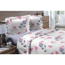 Jogo de Cama Queen 180 fios Romantique Branco com Floral Azul 4 peças Textil Lar - Têxtil Lar