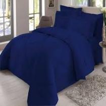 Jogo de cama  queen com aba  200 fios marinho - Sultan