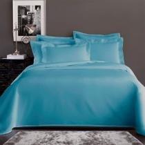 Jogo de Cama Solteiro Corttex Home Design Liso Azul Claro 200 Fios - Corttex
