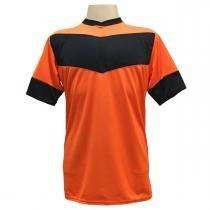 8fa3d5045a Jogo de Camisa com 18 unidades modelo Columbus Laranja Preto + 1 Goleiro +  Brindes