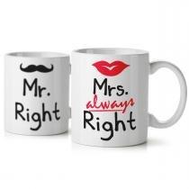 Jogo de Canecas Casados Mr. and Mrs. Right - Yaay