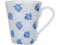 Jogo de Canecas para Chá e Café de Porcelana - Azul e Branca 300ml 3 Peças Casambiente Isadora